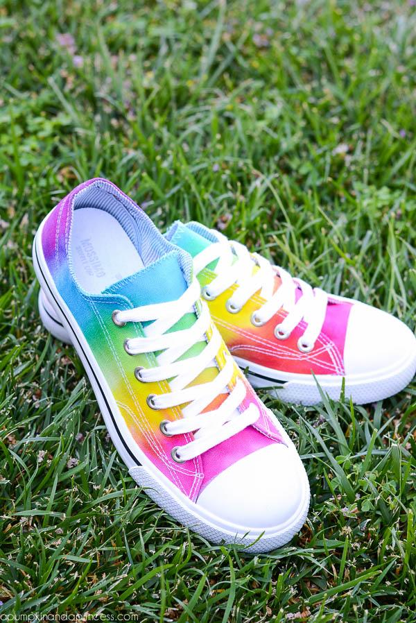 Tie dye rainbow shoes