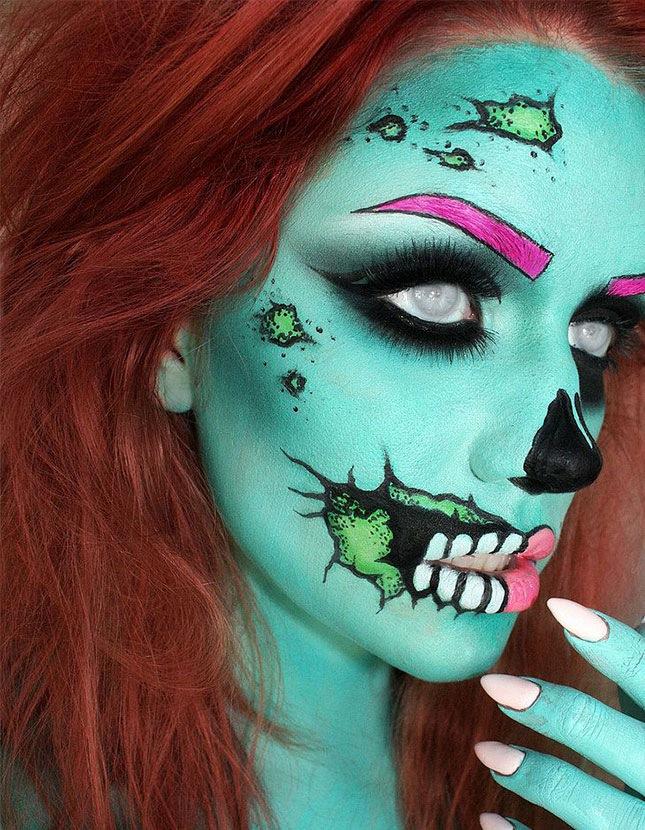Turquoise pop art zombie