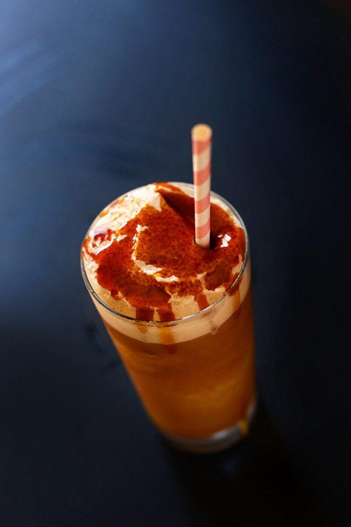 Vegan caramel frappe