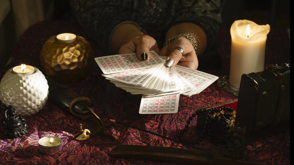 Witch halloween pictures and tarot cards