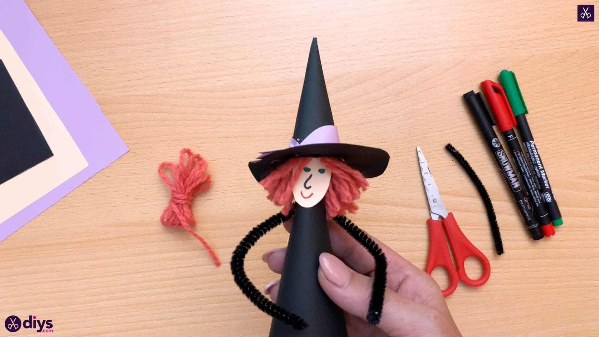 Witchy decorations paper cone witch
