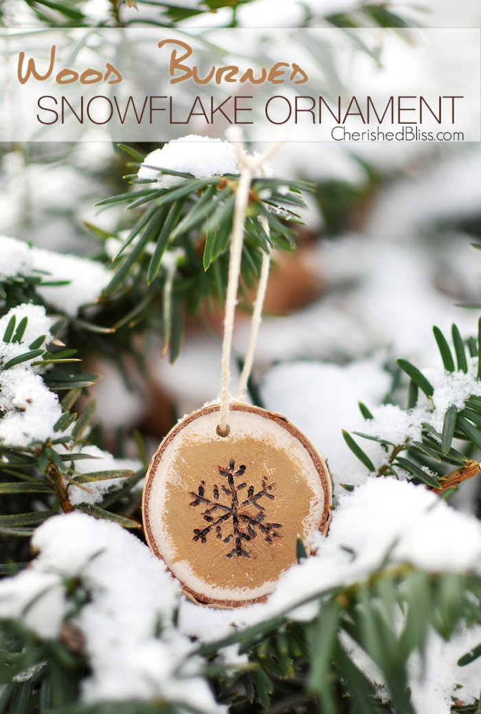 Wood burned snowflake ornament e1416357915836