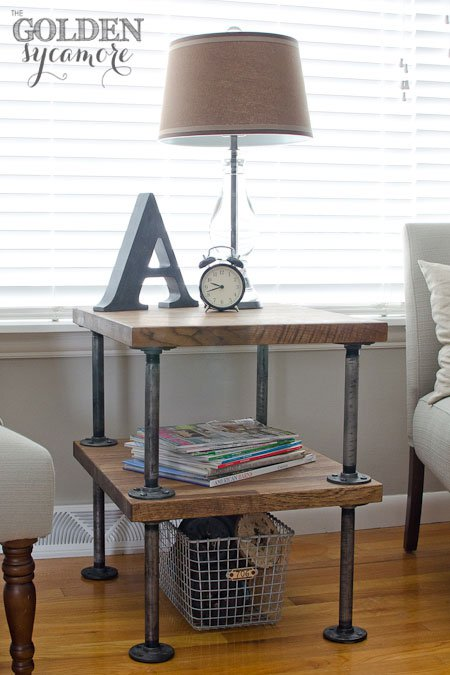 Wood and pipe side table