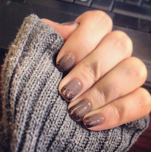 25 thanksgiving nail art ideas glittery brown nail art prinsesfo Image collections