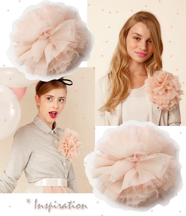 Big chiffon flower brooch