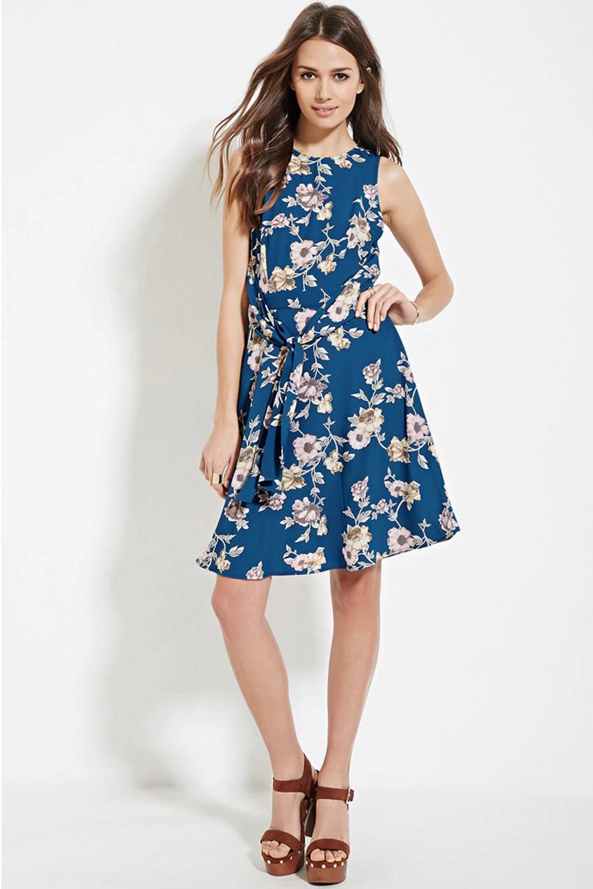 Blue floral forever 21 dress