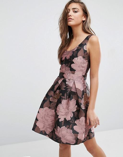 Bow back floral dress asos