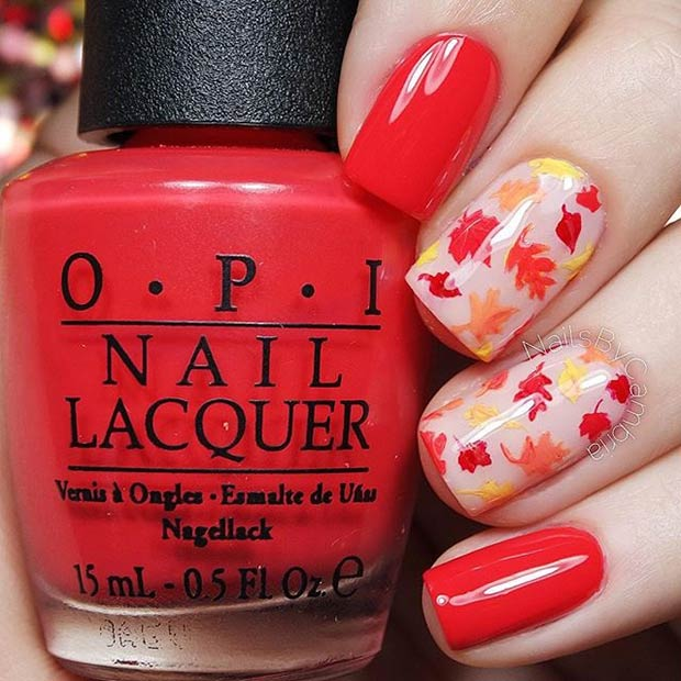 Bright red fall leaves mani
