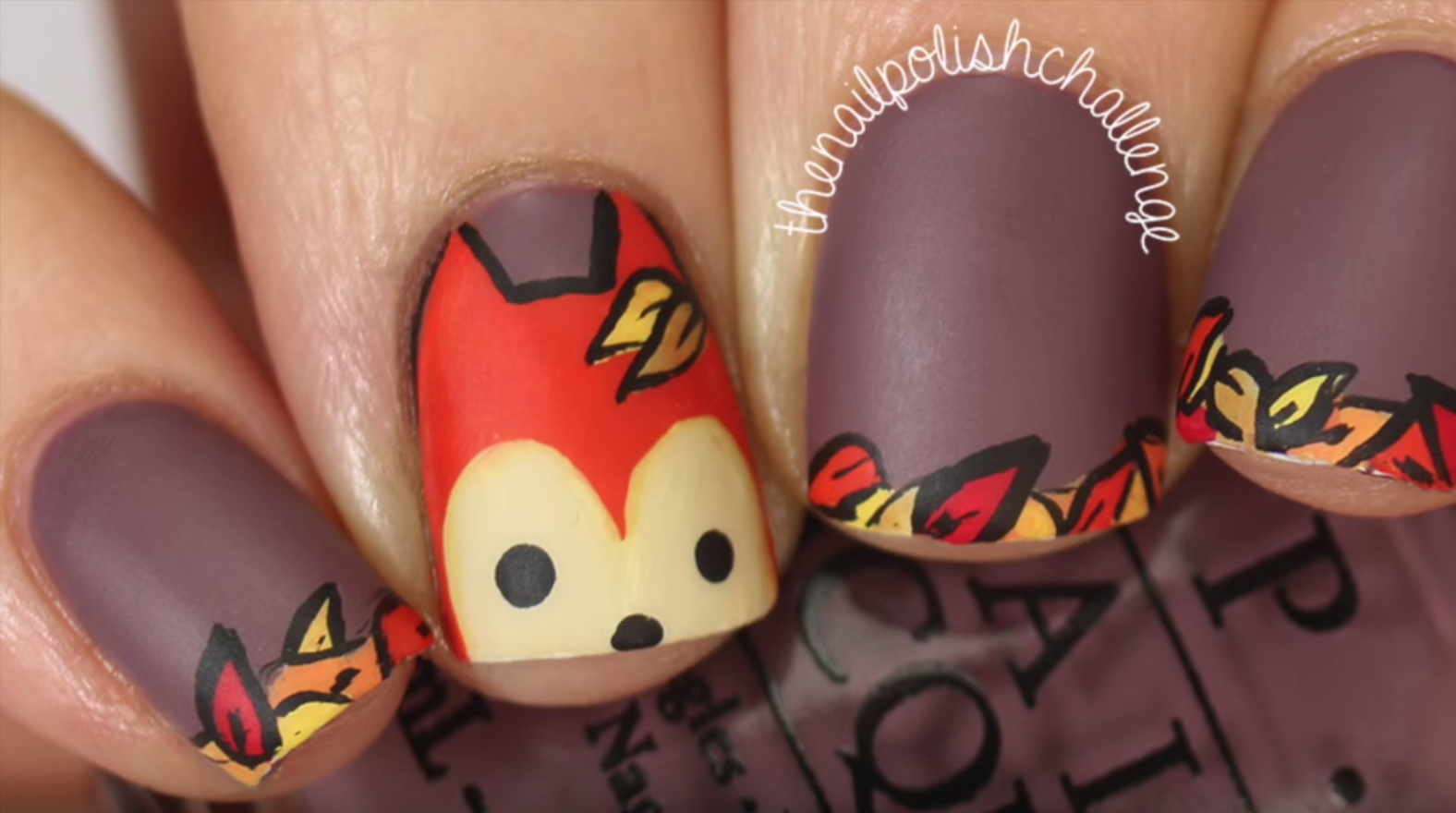 Cartoon thanksgiving nail art - 25 Thanksgiving Nail Art Ideas