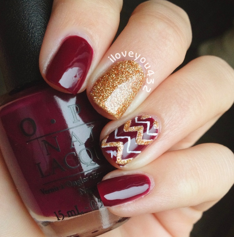 Chevron red gold mani