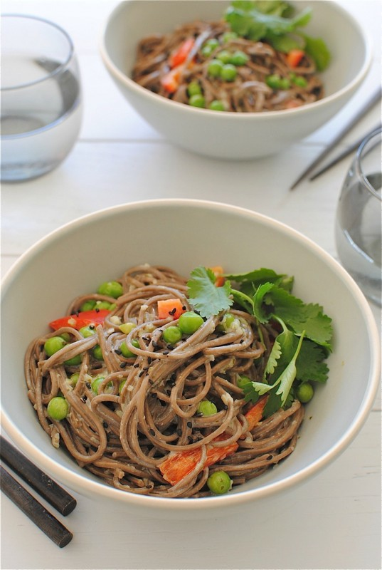Coconut soba noodles with peas