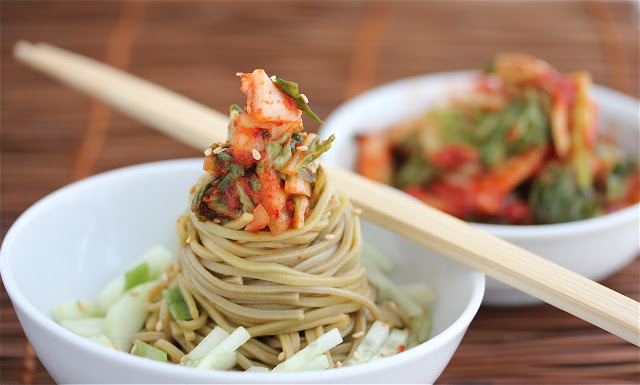 Cold kimchi cucumber salad with soba noodles