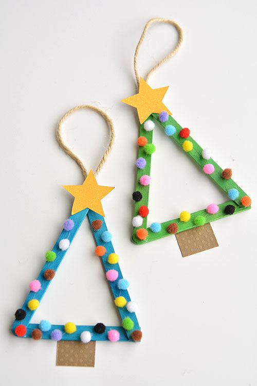 Diy popsicle stick christmas trees