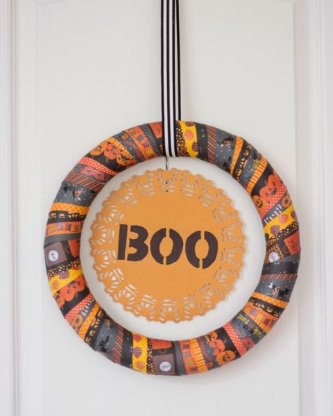 Diy washit tape halloween wreath