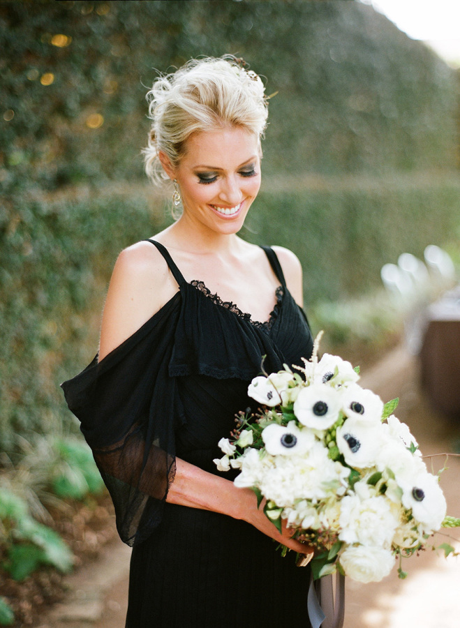 Draped shoulder black wedding dress