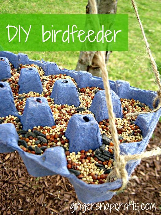 Egg carton birdfeeder diy