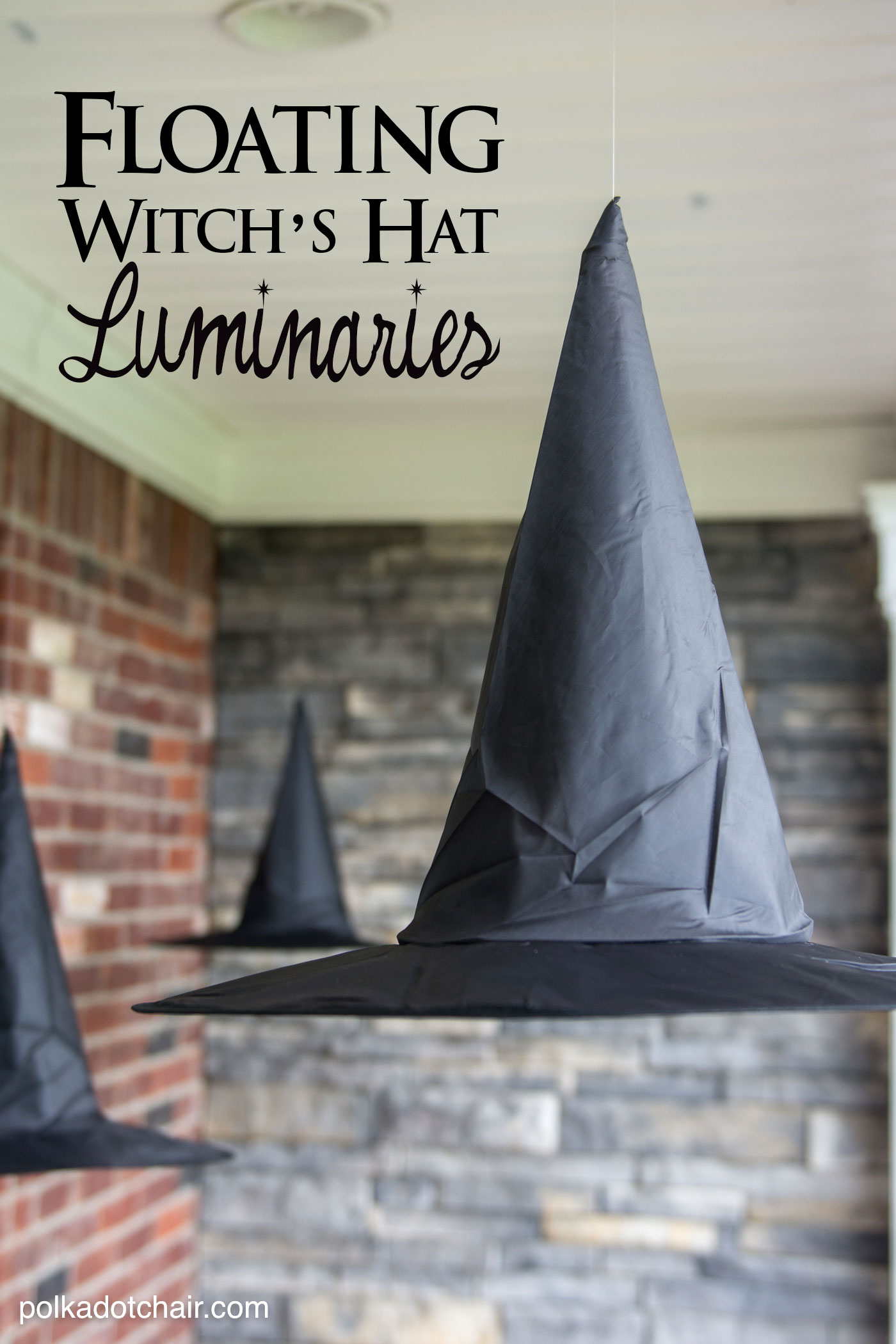 floating witch hat luminaries - Halloween Witch Decorations