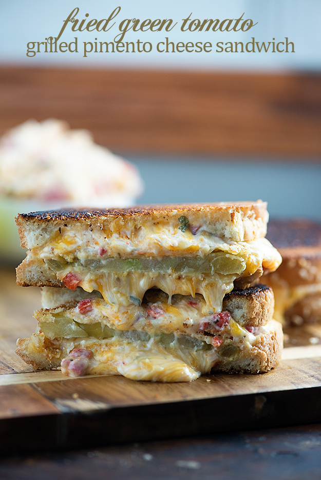 Fried green tomato pimento cheese sandwich