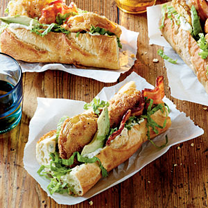 Fried green tomato po boys
