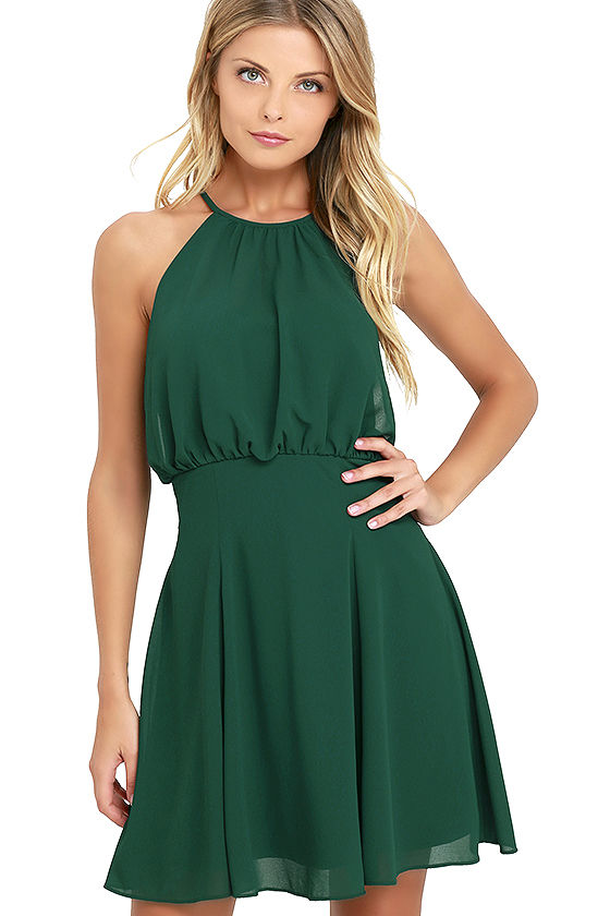 Green halter dress lulus