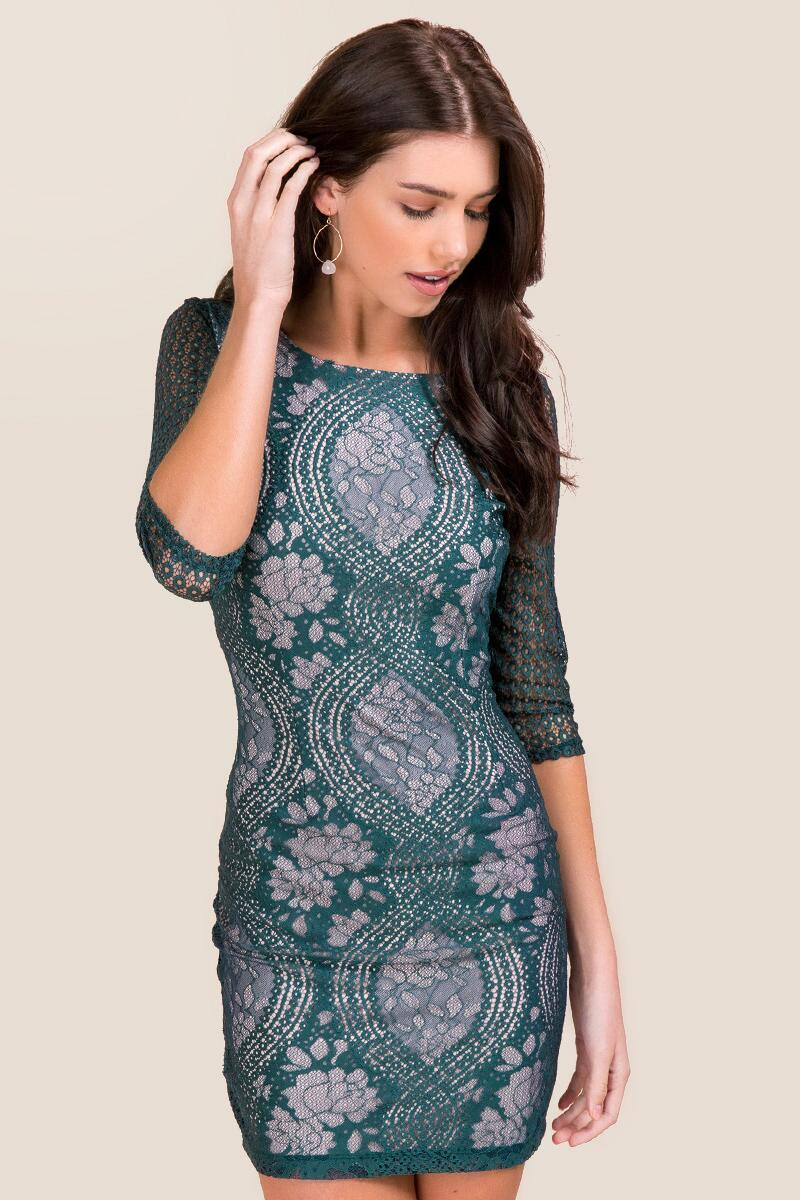 Green lace dress for wedding