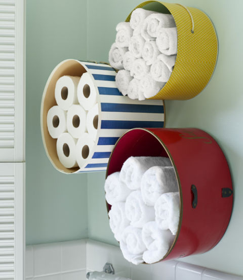 Hat box bathroom storage idea