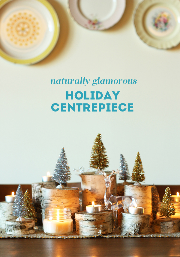 Holiday birch centrepiece diy