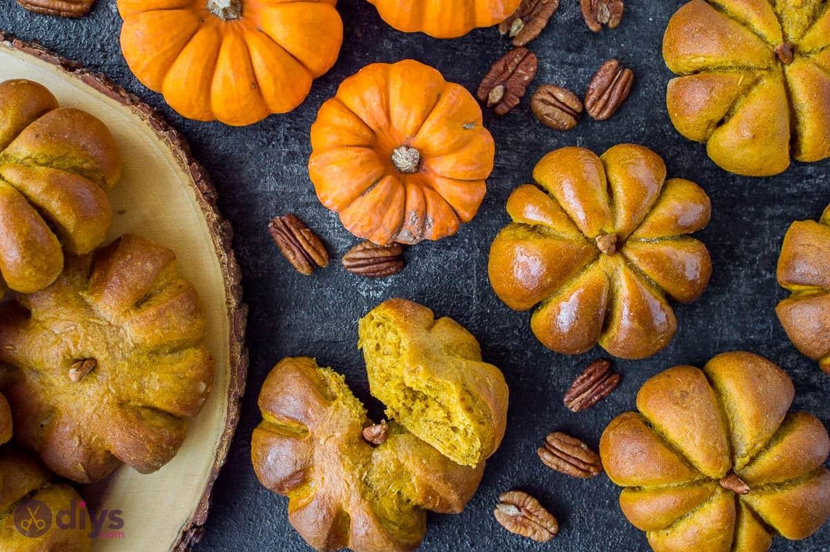 Homemade halloween treats pumpkin dinner rolls