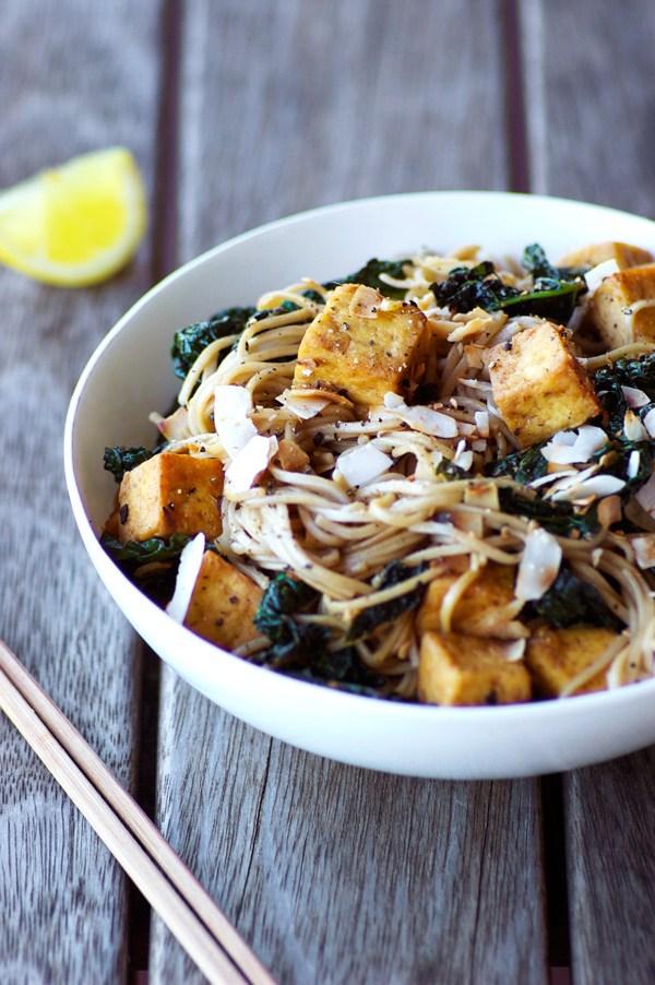 Homespun capers kale tofu soba