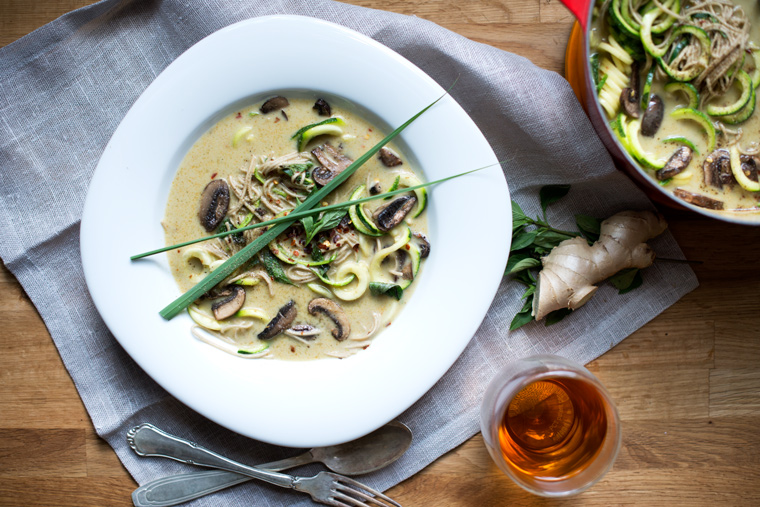 Lemongrass coconut soup with soba noodles