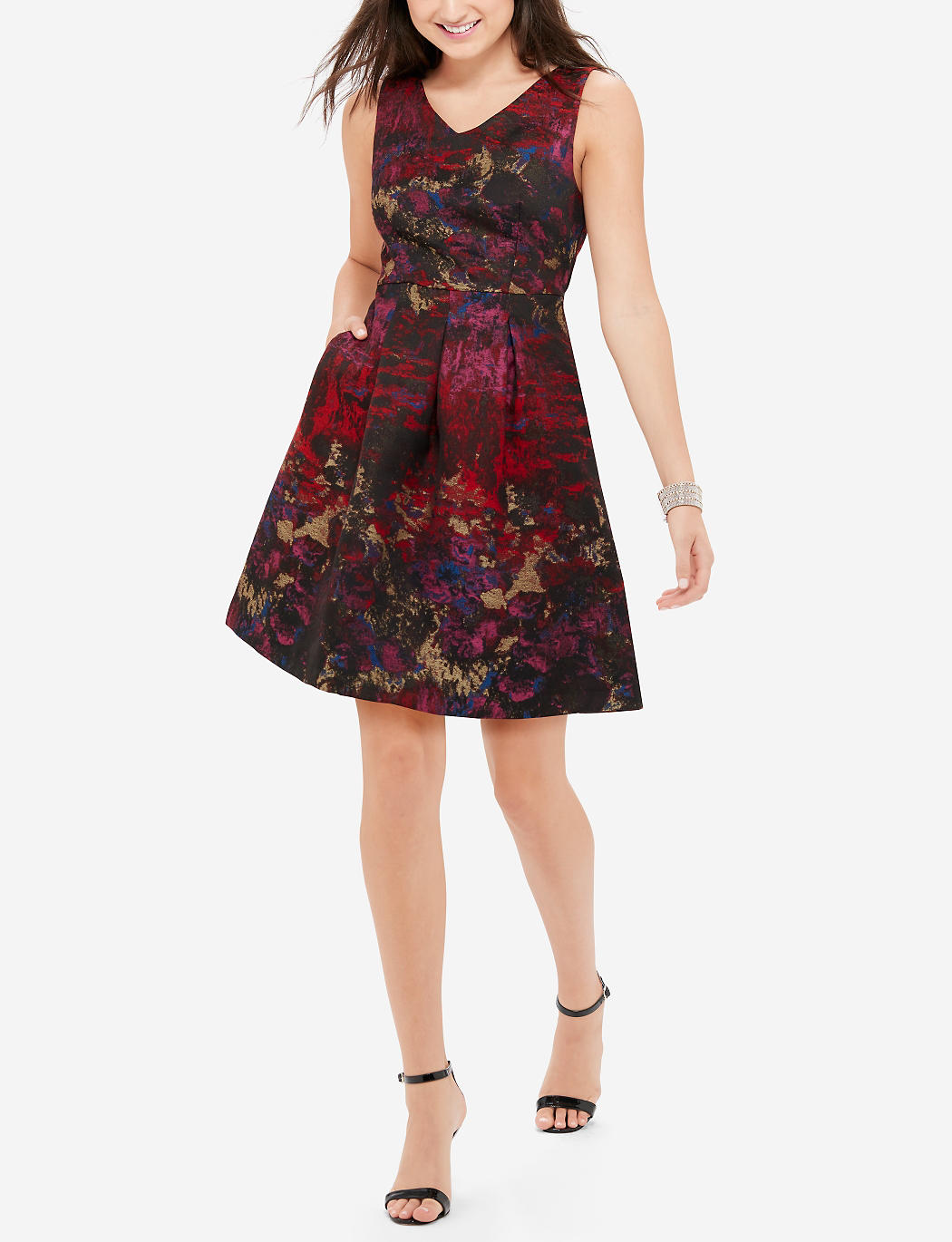Multi colored v neck dress the limited