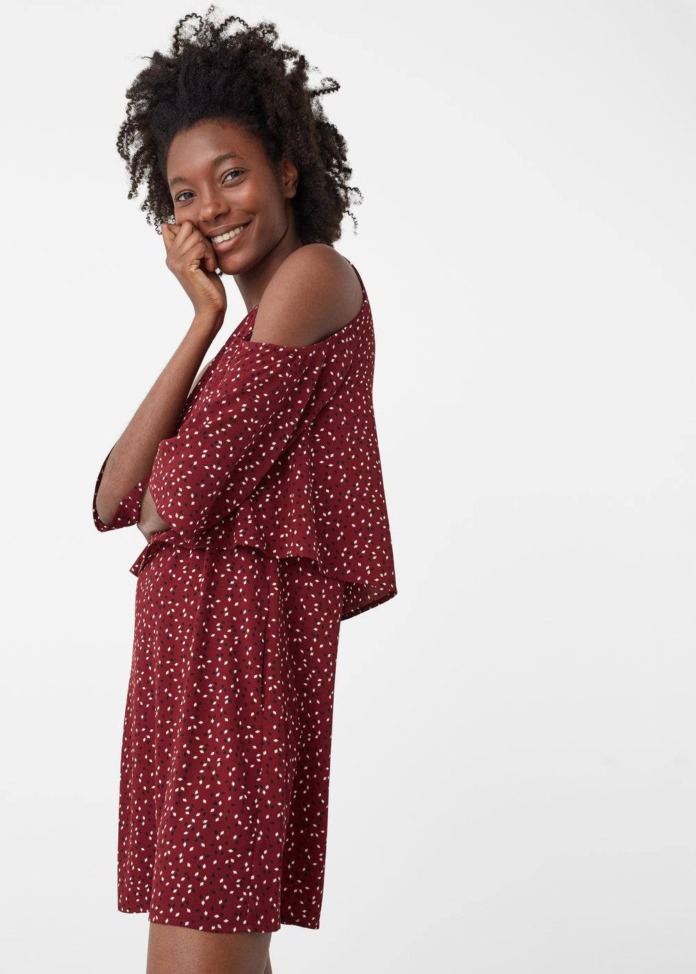 Open shoulder dot dress mango