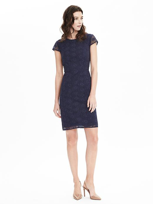 Organza blue lace dress banana republic