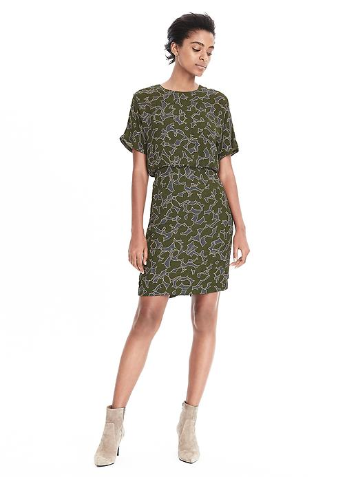 Patterned green dress banana republic