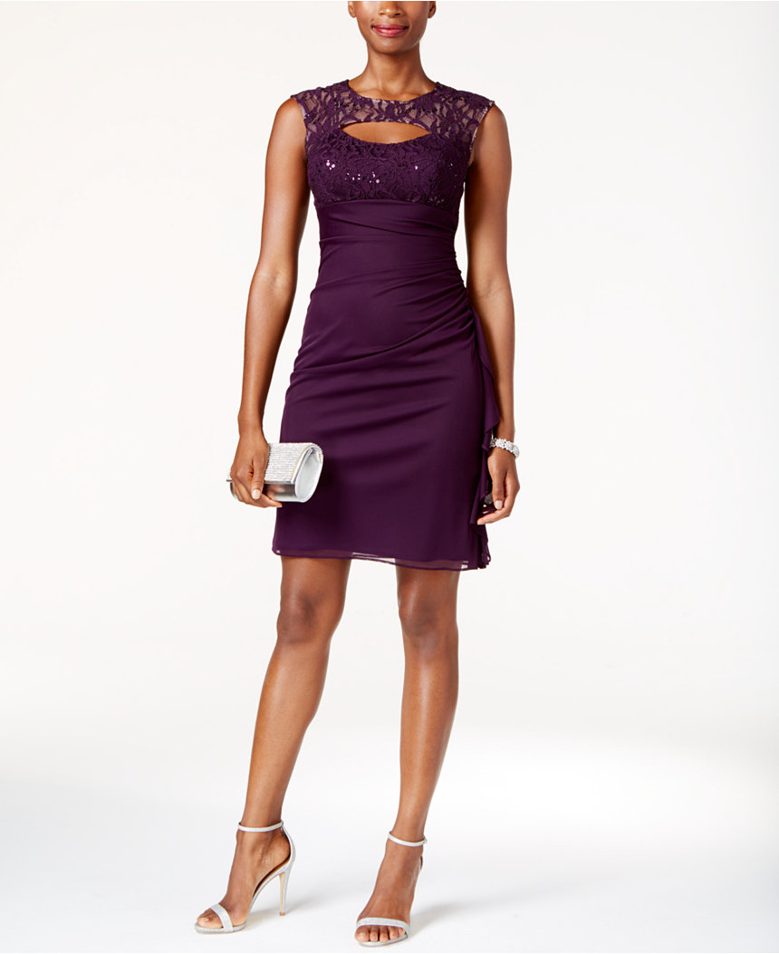 Purple embellished neckline macys
