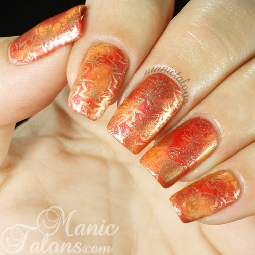 Red orange gold thanksgiving manicure