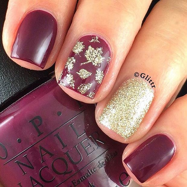 Red wine gold manicure