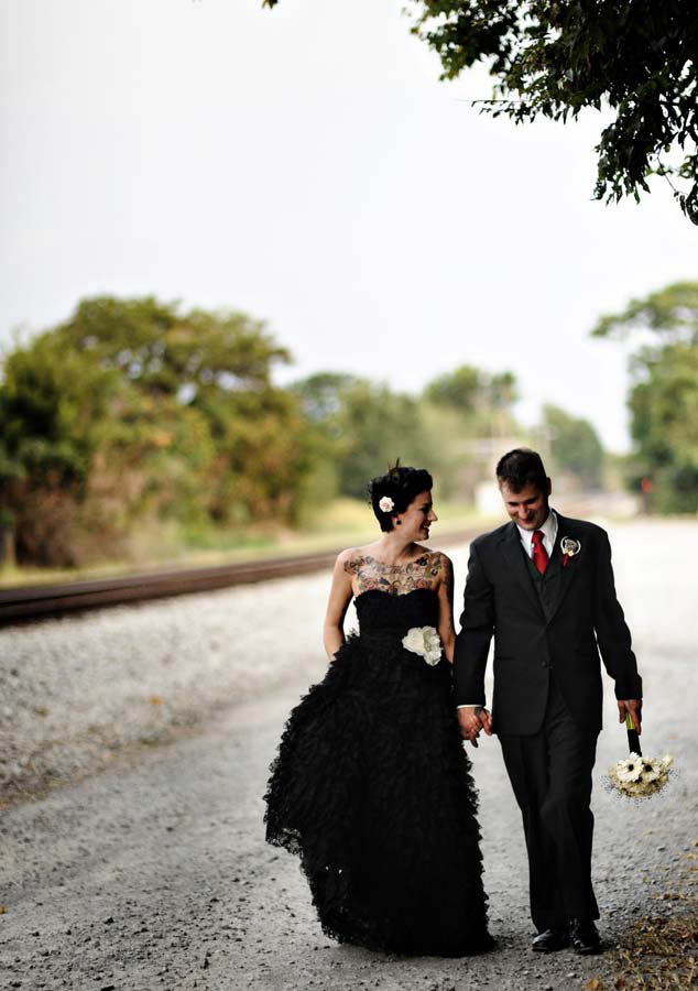 Rock and roll bride black gown