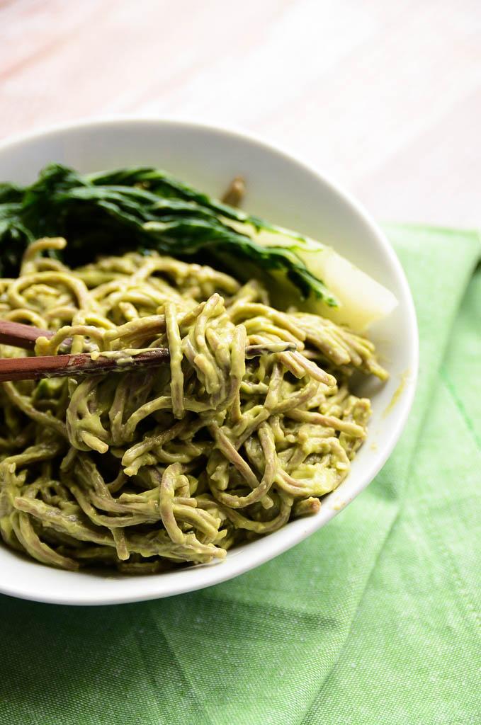 Sesame avocado soba noodles