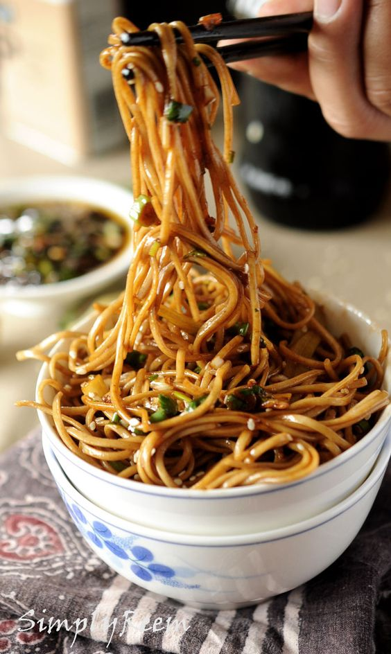Soba noodles with ginger scallion sauce