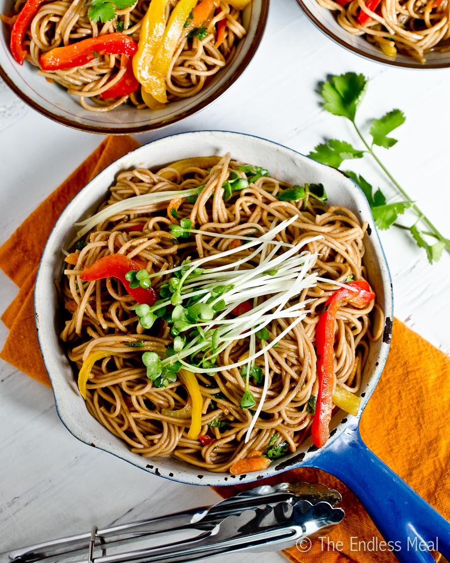 Soy and ginger soba noodles