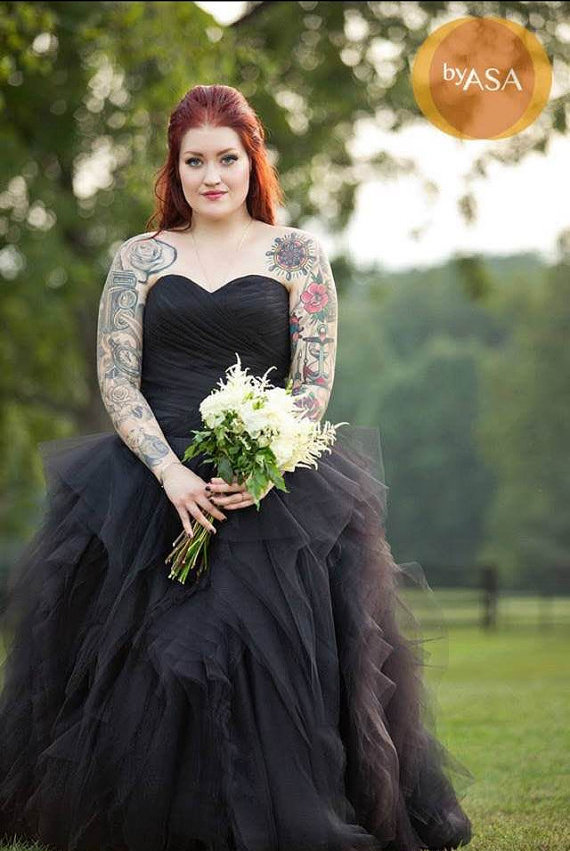 Strapless black wedding gown