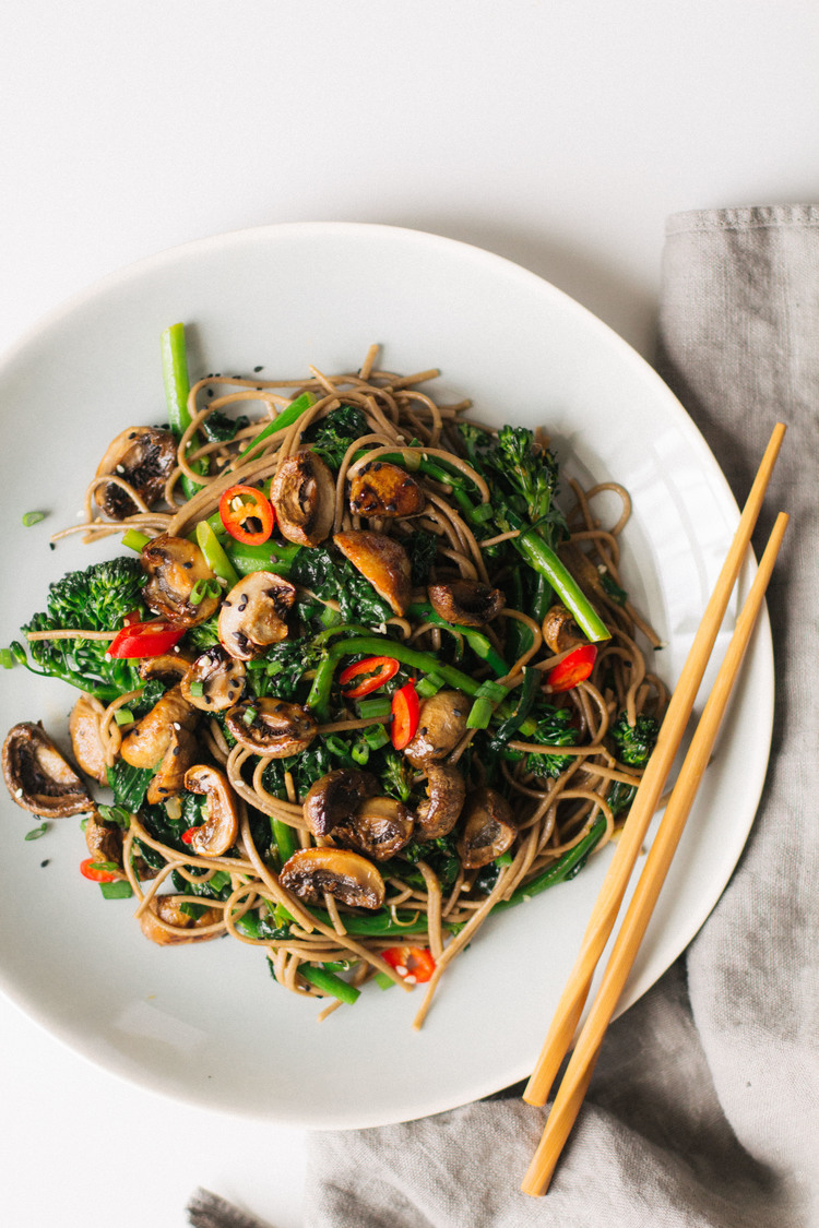 Teriyaki mushrooms and broccolini soba noddles