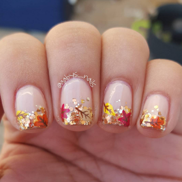 25 thanksgiving nail art ideas thanksgiving leaves sparkles nail art prinsesfo Choice Image