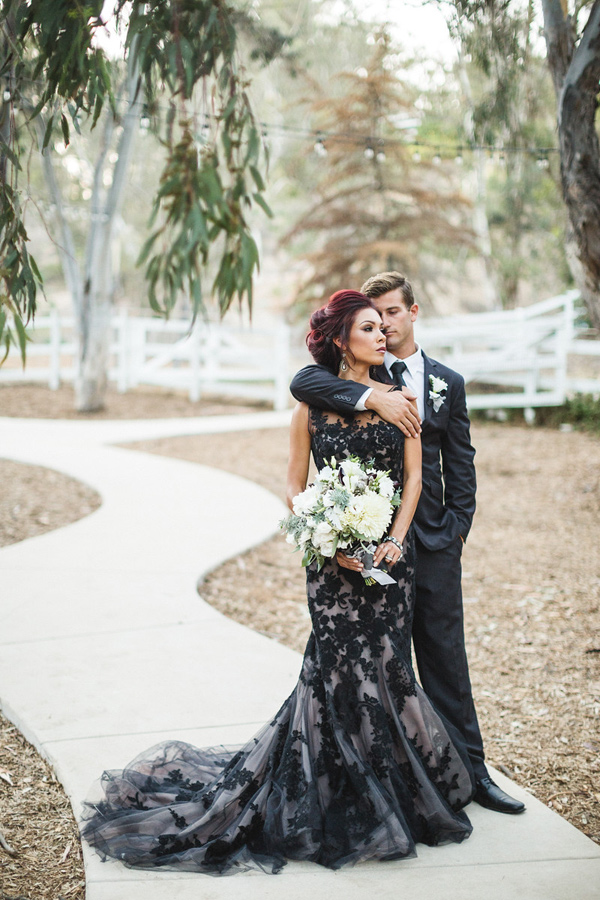 Black lace overlay puffy dress