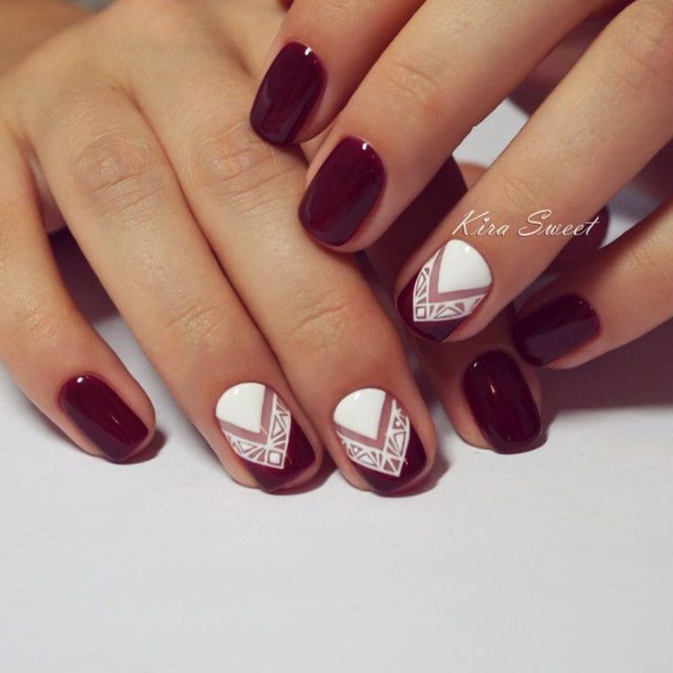 Red and White Patterned Nails - 25 Thanksgiving Nail Art Ideas