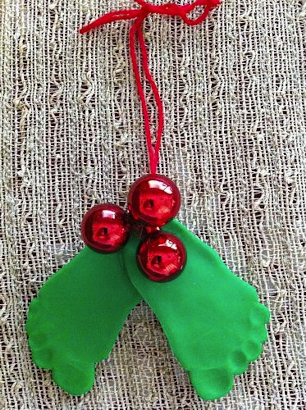Baby footprint christmas holly