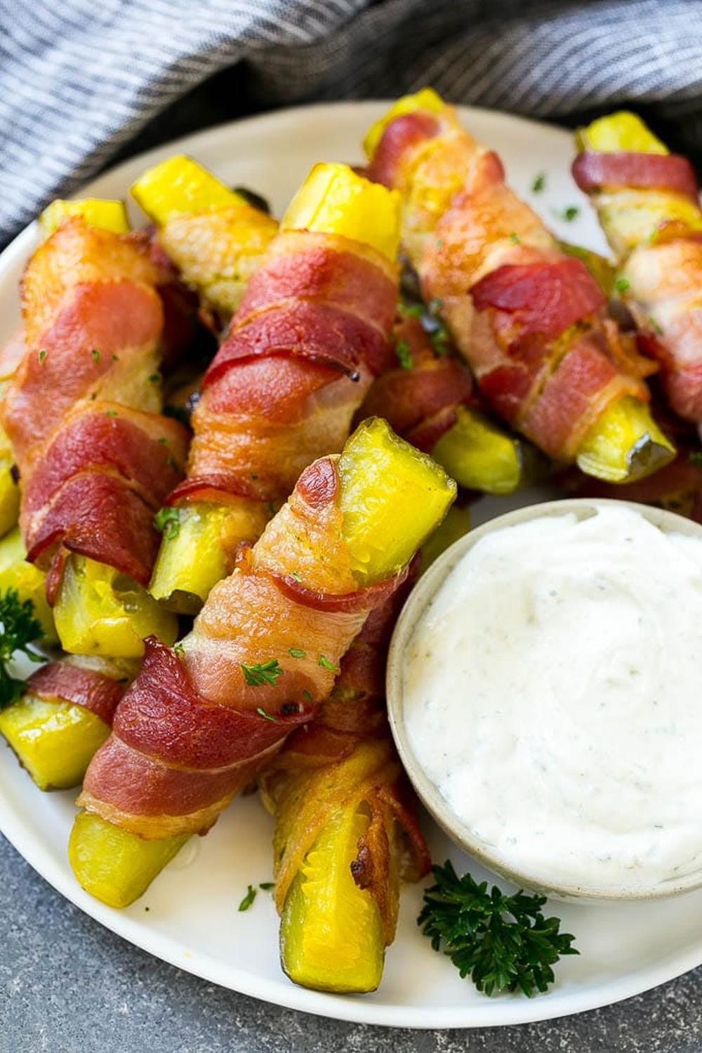 Bacon wrapped pickles thanksgiving finger foods