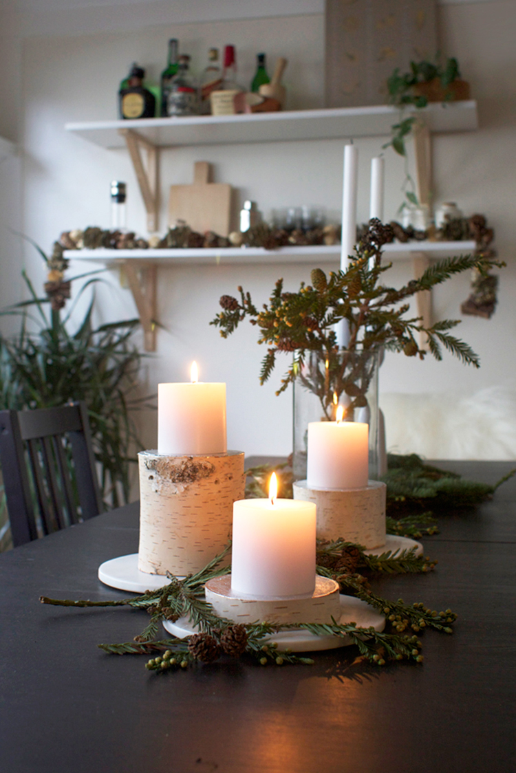 Birch log pilar candle holders diy