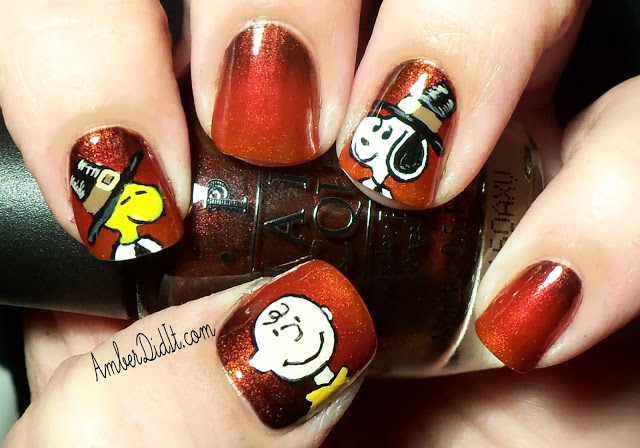 Charlie brown thanksgiving nail diy
